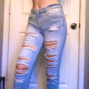 High rise ripped jeans